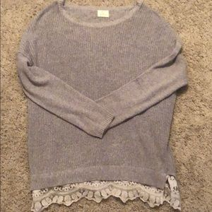 Urban outfitters gray sweater with lace trim